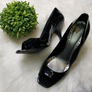 BCBGirls Paris Black High Heels Open Toe 9B/39